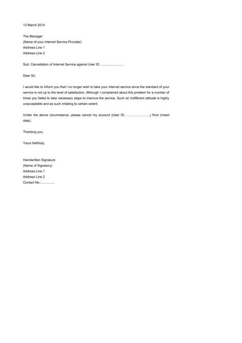 termination letter of broadband service termination letter templates 26 free sles exles