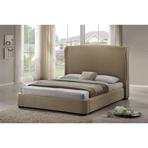 sheila tan linen modern bed with upholstered headboard