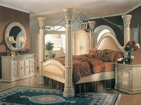 king poster canopy bed marble top 5 piece bedroom set margaret king poster canopy bed 5 piece bedroom set