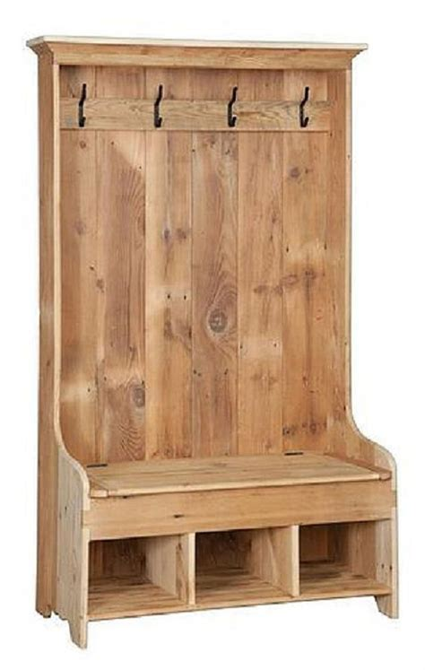 wooden hall tree storage bench reclaimed barn wood hall tree coat rack with cubby storage