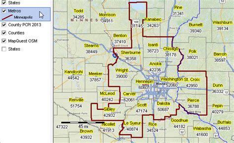 zip code map twin cities metropolitan statistical area proximityone