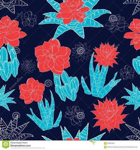 fiori di notte modello senza cuciture dei fiori dei cactus deserto di