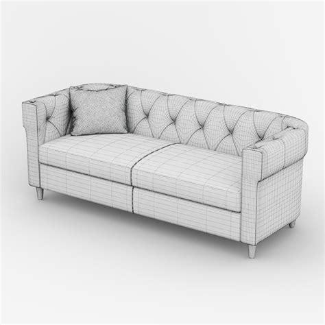 chester tufted upholstered sofa 3d model max obj fbx