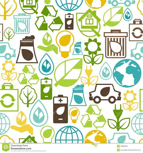 pattern of energy flow in the environment ecology seamless pattern with environment icons vector