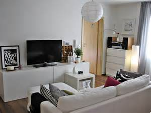 White modern living room with ikea besta media storage system