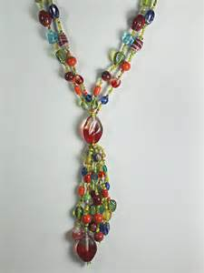 colorful beaded necklace colorful glass necklace pendant by
