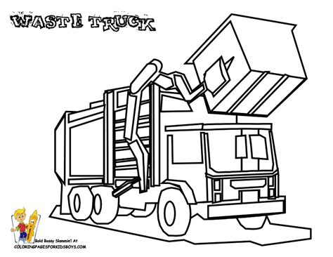 Coloring Page Of Trash Truck | grimy garbage truck coloring page garbage trucks free
