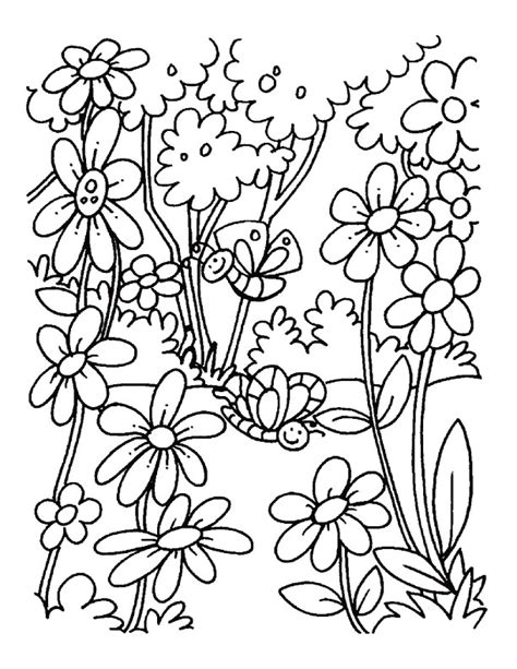 A Blooming Field Of Flowers Coloring Pages Free