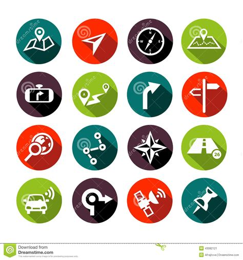 design navigation icon size navigation icons flat design stock vector image 43082121