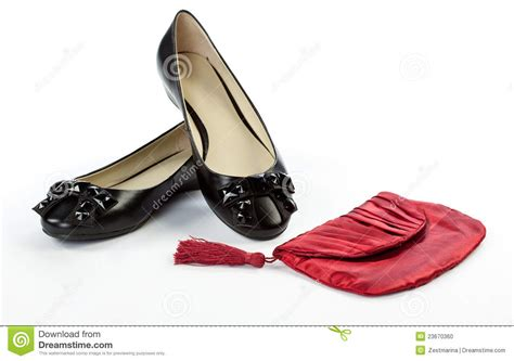 Flat Shoes Nobody pair of flat shoes and handbag stock photo image 23670360
