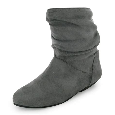 grey casual flat ankle slouch boots size 3 8 uk ebay