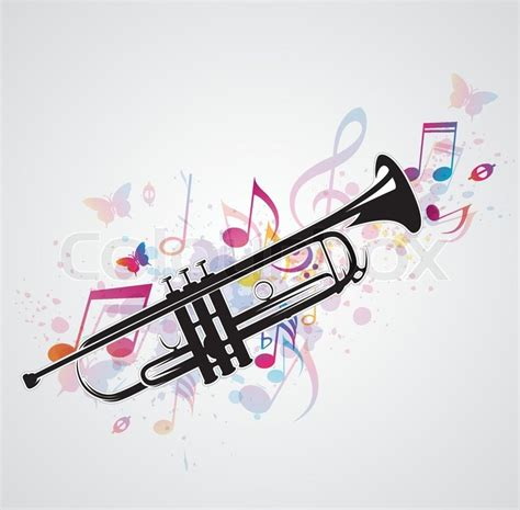 music abstract background with black trumpet and notes