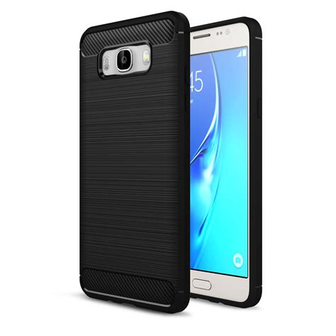 Samsung J7 Plus Carbon Fibre Rugged Armor Soft Shell Brushed Tpu shockproof rubber brushed cover for samsung
