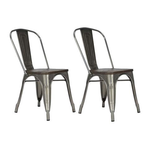 metal kitchen chairs with wood seats metal dining chair with wooden seat in gun metal set of 2