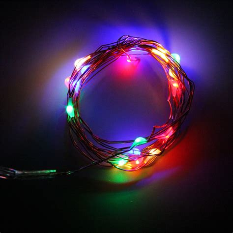 2m 20 Leds Button Battery Operated Led Copper Wire String 20 Strand Lights