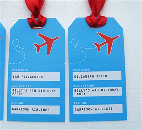 luggage tag invitation template airplane printable birthday invitation and complete