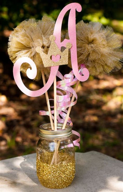 princess birthday party initial pink and gold by