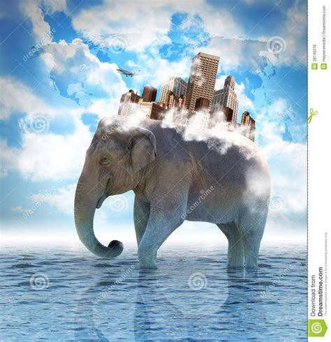 And The City Back On by Elephant Carrying City On Back With Clouds Stock Photo