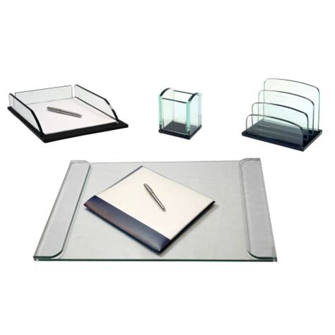 glass desk accessories sets storex glass desk accessories four set