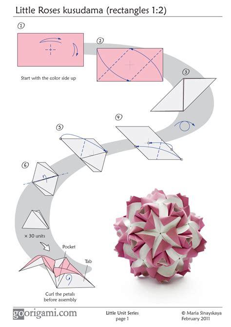 One Sheet Origami - roses kusudama diagram page 1 go origami