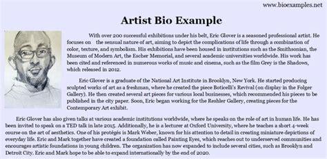 artist biography template artist bio exle bio exles pinterest