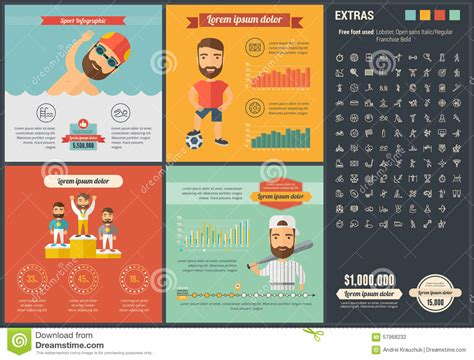 sports infographics templates sports flat design infographic template stock vector
