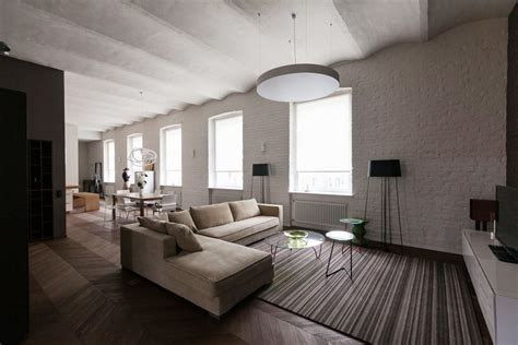 minimalist interior design style urban apartment contemporary style in historical building bricks arched