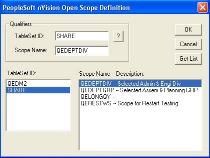 Peoplesoft Nvision by Working With Existing Scopes