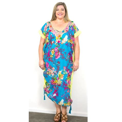 Kaftan Ifona a favb summer maxi dress in brigth floral and yellow for