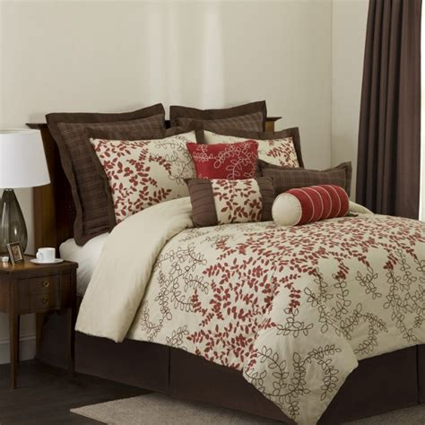 tan bedding set 8pc astor red beige chocolate abstract branches faux silk