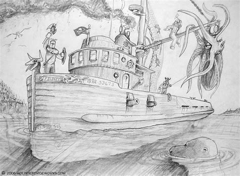 alaska fishing boat captain saves crewmen art cartoon illustration by r r anderson holistic