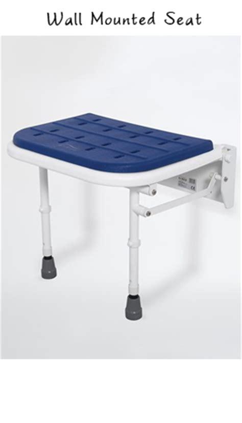 padded wall mounted folding shower seat  legs