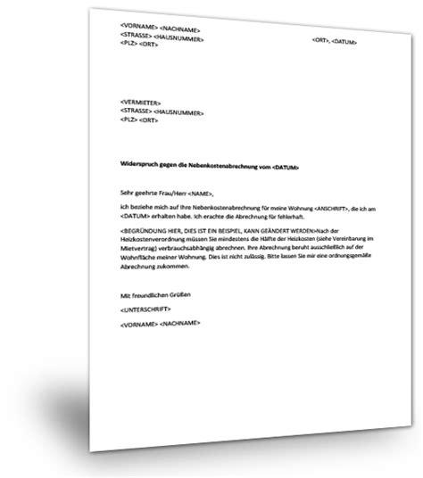 Musterbrief Widerspruch Nebenkostenabrechnung Kostenlos Nebenkostenabrechnung F 252 R Mietwohnung
