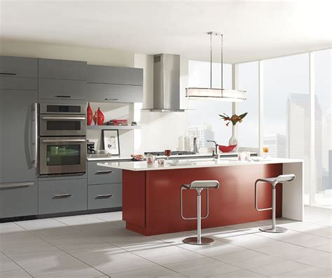 kitchen island red gray cabinets with a red kitchen island omega cabinetry