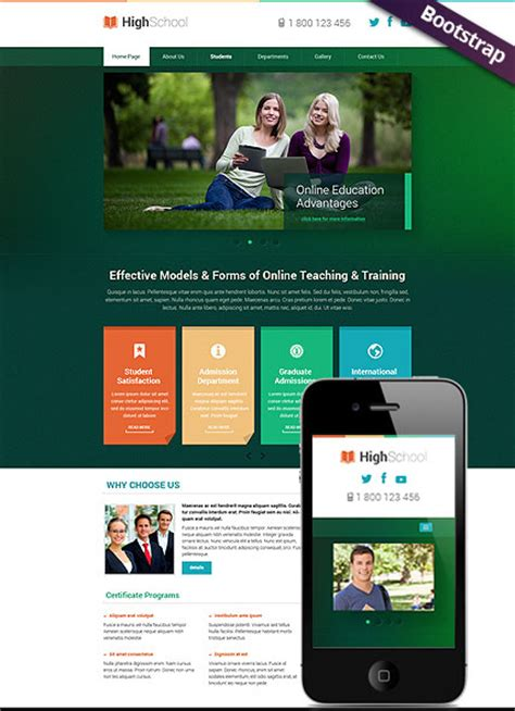 hight school bootstrap template id 300111778