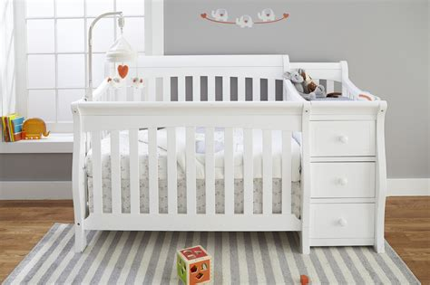 84 White Crib With Changing Table Attached Convertible Crib With Changing Table Attached