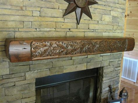 carved fireplace mantels rustic fireplace mantel with carved oak leaves