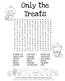 Treats word search printables for kids free word search