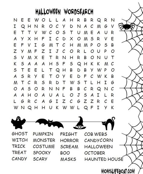 printable word search halloween halloween word search