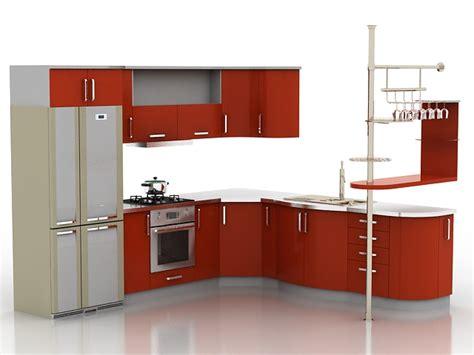 small one wall kitchen free 3d model max obj 3ds fbx stl corner red kitchen cabinets 3d model 3d studio 3ds max