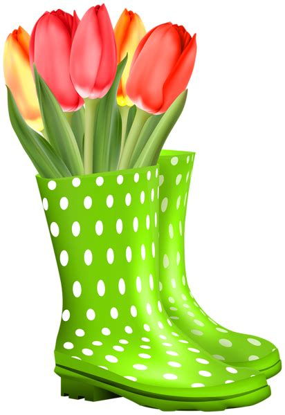 green rubber boots  tulips transparent image gallery