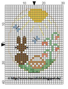 Mutia Maxi duck and bunny hama perler pattern cross