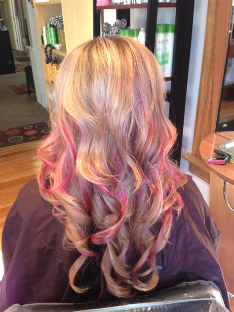 blondehairstyles with redpink in 48 best images about pink highlights on pinterest hot