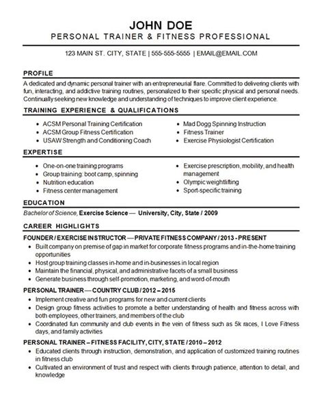 physical fitness trainer resume sle 10 best images about resume exles on executive resume accounting manager and