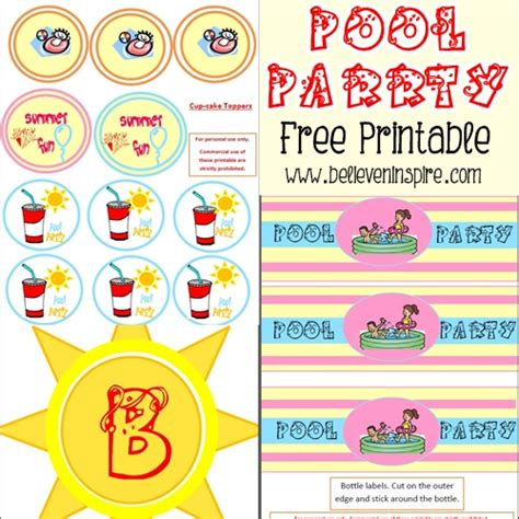 printable summer party decorations summer pool party free printable diy ideas pinterest