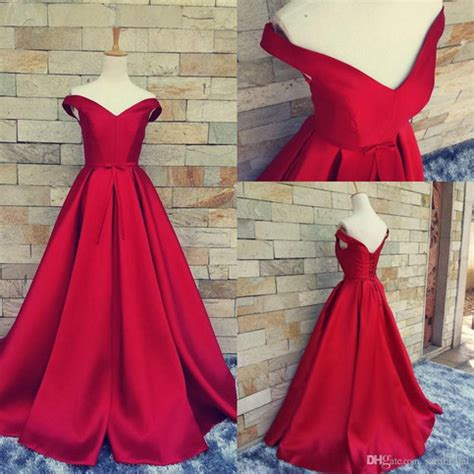 simple ball gown   shoulder red satin prom dress
