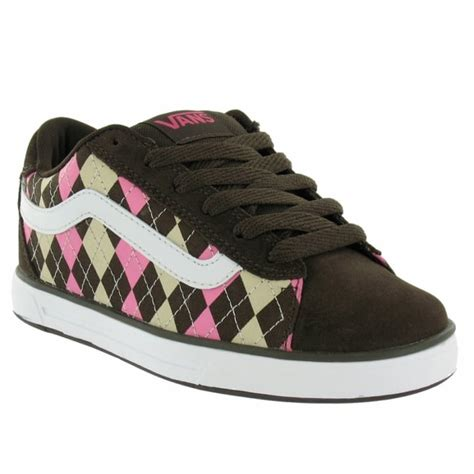 vans mercer womens skate shoes brown pink argyle