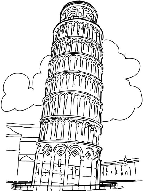 Free Coloring Pages Of Tower Of Pisa Leaning Tower Of Pisa Coloring Page