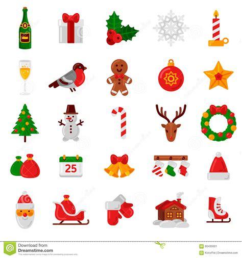 new year decorations symbols set of flat icons signs and symbols