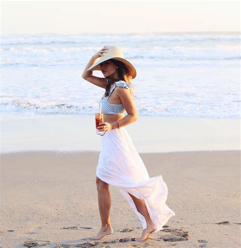 blogger bali marianna hewitt travel blog beach white skirt crop top